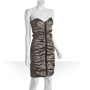 Nicole Miller Silver Ruched Zip Strapless Dress